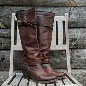 Frye Jane Strappy Boots in Brown Leather 76396